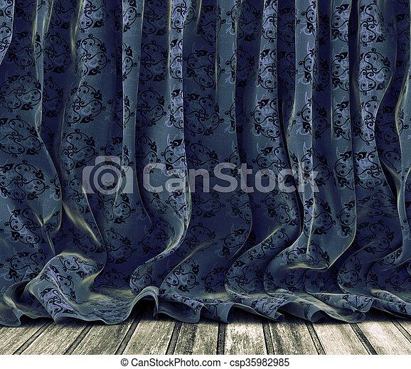 型, カーテン, 背景, 花 - csp35982985