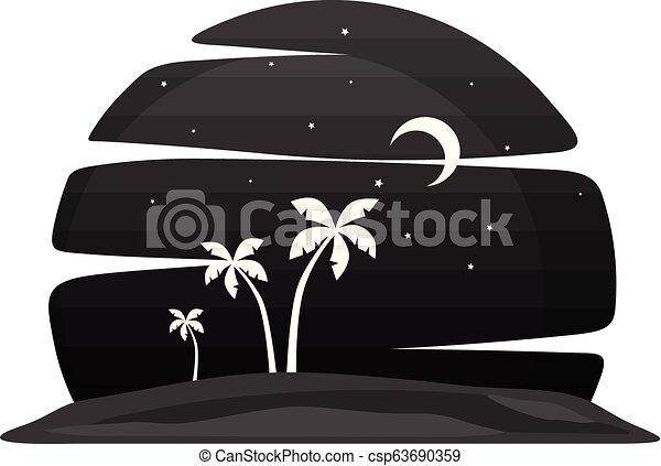 夏季休暇, 浜, 夜, 光景 - csp63690359
