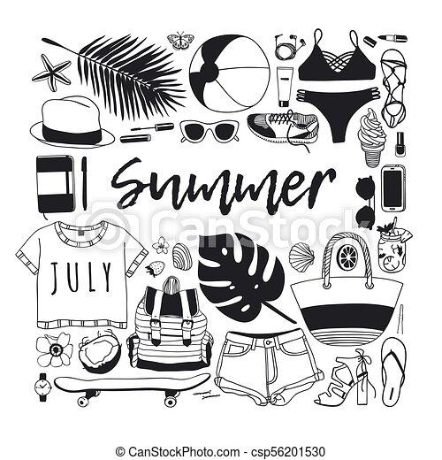 夏, ファッション, 芸術, work., drawing., pattern., doddle, イラスト, 手, トロピカル, バックグラウンド。, ベクトル, 芸術的, インク, 引かれる, オブジェクト, 創造的, 季節 - csp56201530