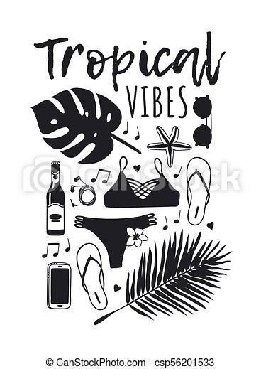 夏, ファッション, 芸術, work., drawing., pattern., doddle, イラスト, 手, トロピカル, バックグラウンド。, ベクトル, 芸術的, インク, 引かれる, オブジェクト, 創造的, 季節 - csp56201533