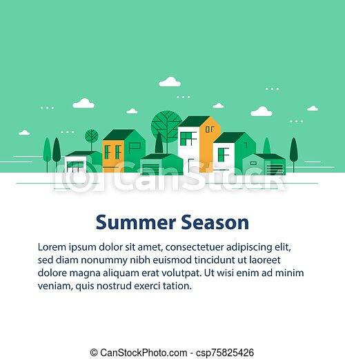 夏, 家, 季節, 緑, 小さい, 横列, ごく小さい, 町, 光景, 近所, 村, 美しい, 住宅の - csp75825426