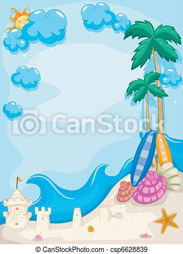 夏, 浜, 背景 - csp6628839