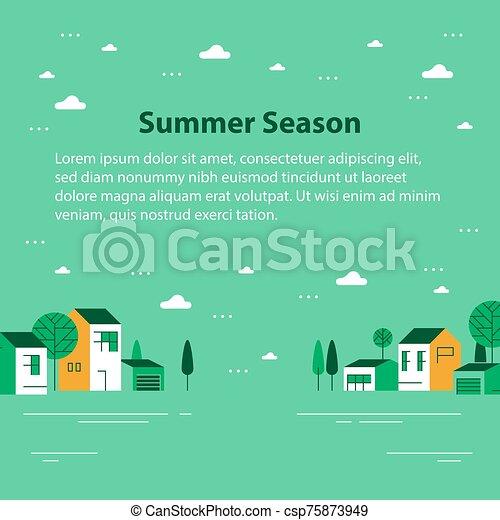 夏, 町, 小さい, 緑, 光景, 横列, 季節, 家, ごく小さい, 美しい, 近所, 村, 住宅の - csp75873949