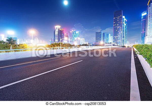 夕闇, guangdong, 通り, 陶磁器, 道, ライト - csp20813053