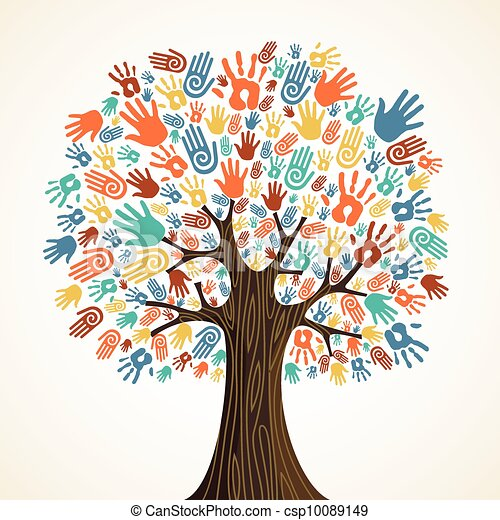 多様性, 木, 隔離された, 手 - csp10089149