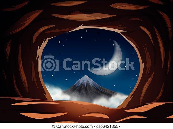 夜, 洞穴, 光景 - csp64213557