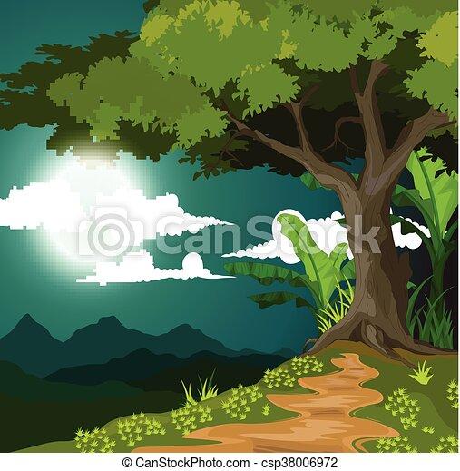 夜, 美しさ, 背景, 光景 - csp38006972