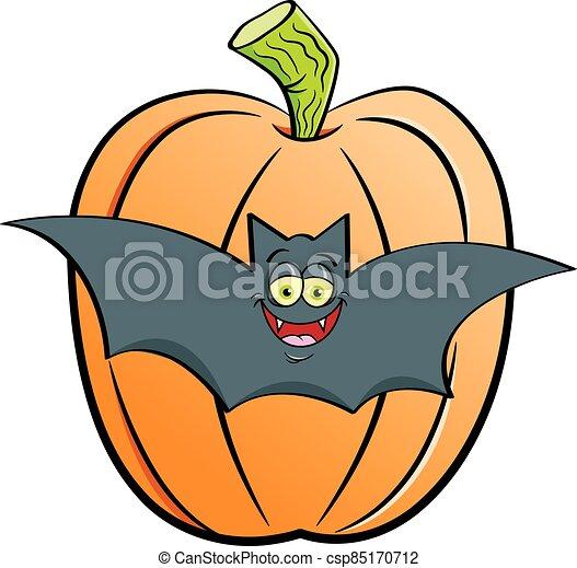 大きい, 漫画, コウモリ, 前部, pumpkin. - csp85170712