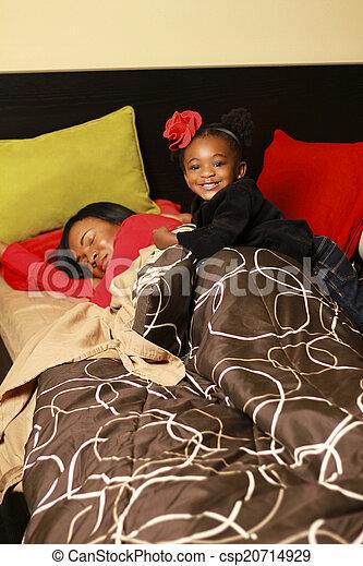女の子, 幸せ, 黒, 母 - csp20714929