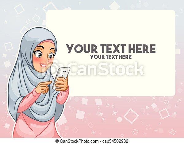 女, 彼女, 指すこと, muslim, 手, 電話, 感動的である, 指, 痛みなさい - csp54502932