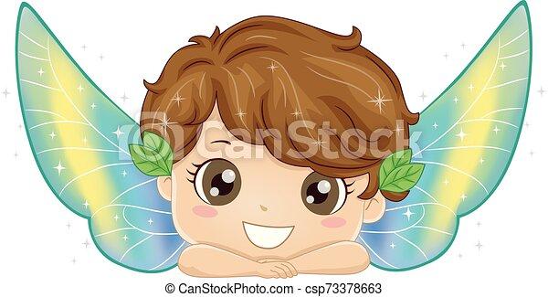 子供, 妖精, 男の子, イラスト - csp73378663