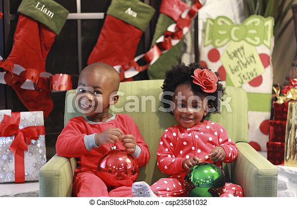 子供, 黒, クリスマス, 写真 - csp23581032