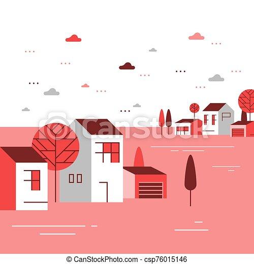 季節, 近所, 住宅の, 美しい, 小さいグループ, ごく小さい, 家, 町, 秋, 村, 光景 - csp76015146