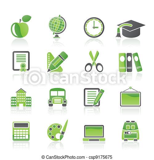 学校, 教育, アイコン - csp9175675