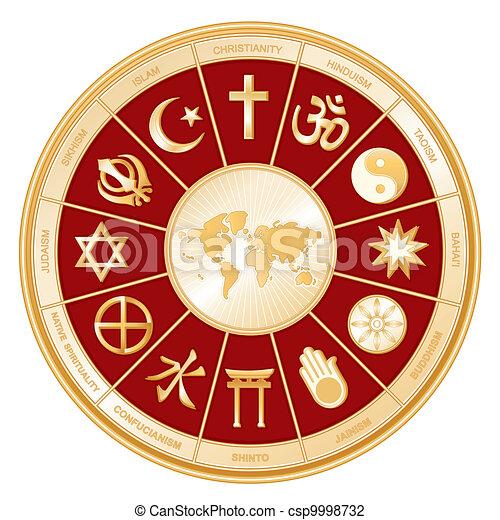 宗教, 地図, 世界 - csp9998732