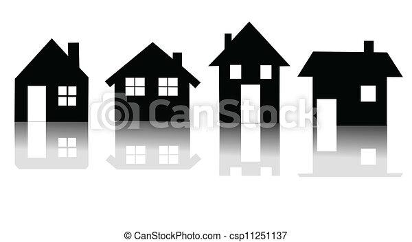 家, ベクトル, セット, アイコン - csp11251137