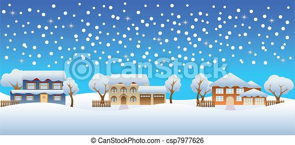 家, 冬, 雪 - csp7977626