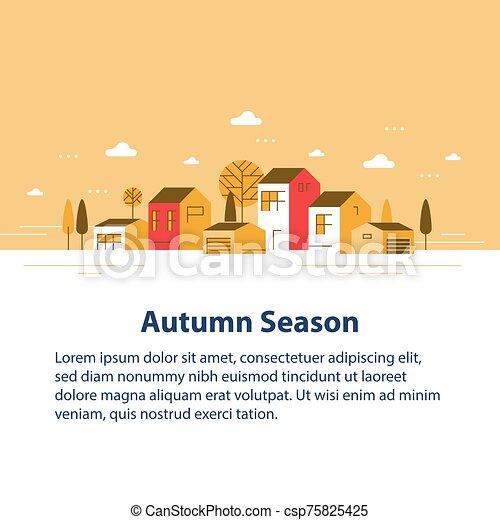 家, 季節, 小さい, 横列, ごく小さい, 町, 光景, 近所, 秋, 村, 美しい, 住宅の - csp75825425