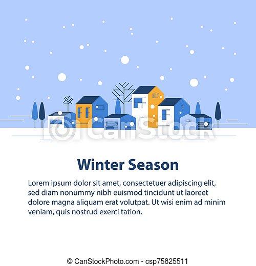 家, 季節, 小さい, 横列, ごく小さい, 雪が多い, 空, 冬, 町, 光景, 近所, 村, 美しい, 住宅の - csp75825511