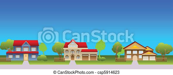家, 郊外, 近所 - csp5914623
