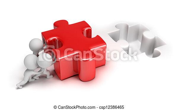 小さい, 困惑, 押す, 3d, 人々 - csp12386465