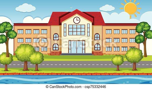 屋外, 学校, 現場 - csp75332446