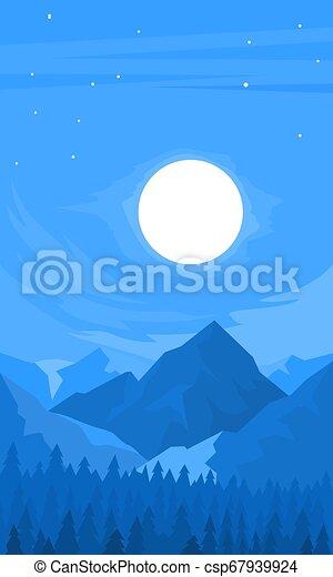 山, 夜, 光景 - csp67939924