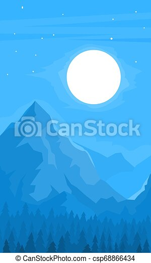山, 夜, 光景 - csp68866434