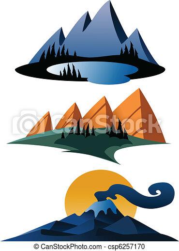 山, 漫画, アイコン - csp6257170