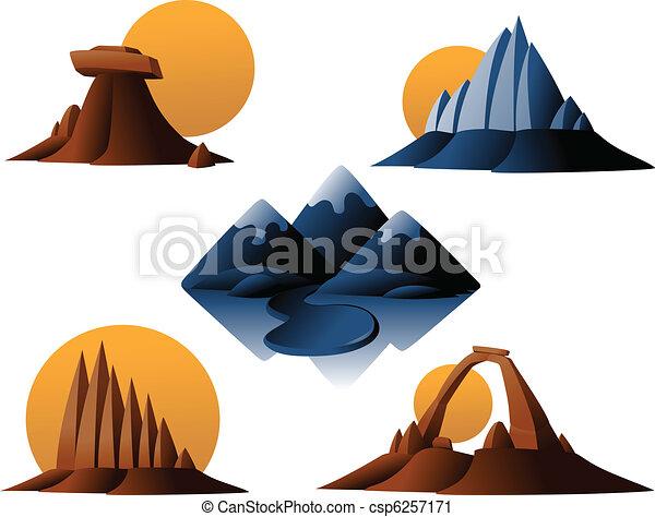 山, 砂漠, アイコン - csp6257171
