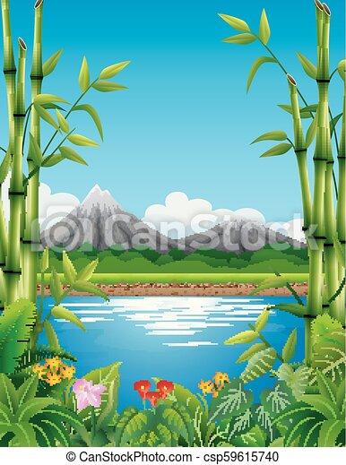 山, 竹, 風景, 湖, 木 - csp59615740