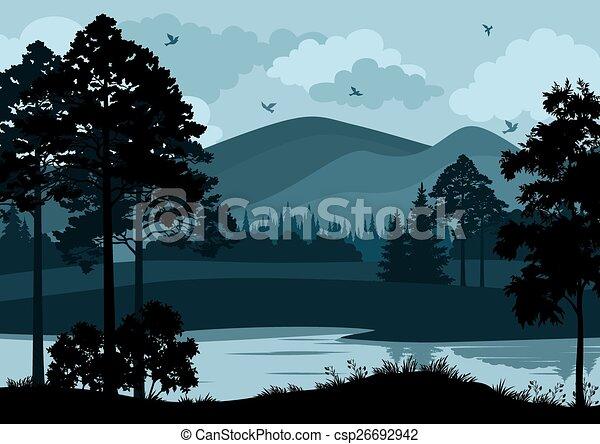 山, 風景, 木, 湖 - csp26692942