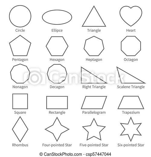 平ら, 教育, 子供, アウトライン, 幾何学, shapes., 図, ベクトル ...
