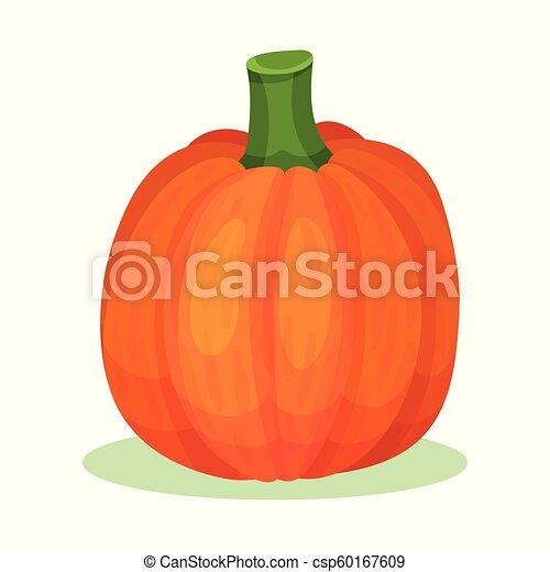 平ら, 有機体である, 健康, 大きい, pumpkin., gourd., 秋, 明るい, ベクトル, オレンジ, 食品。, 収穫, アイコン - csp60167609