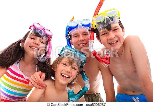 幸せ, シュノーケル, 子供 - csp6206287