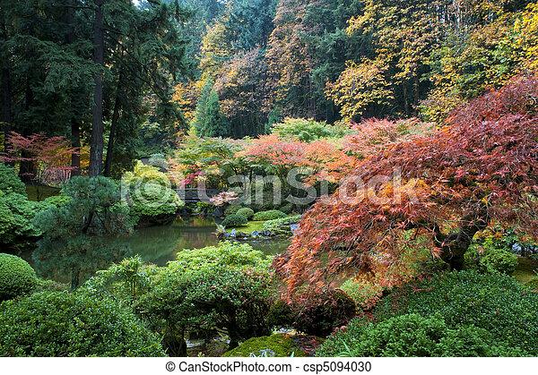 庭, 木製である, 日本語, オレゴン, ポートランド, 橋 - csp5094030