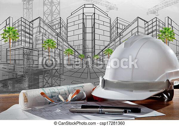 建物, ヘルメット, 安全, 現場, pland, 木, 建築家, ファイル, テーブル, 建設, 日没 - csp17281360