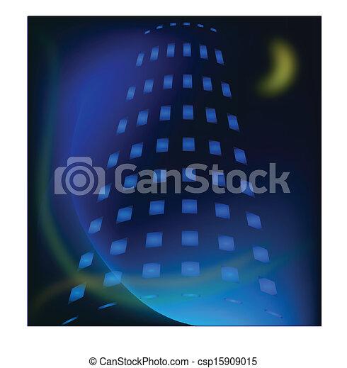 建物, 夜, ベクトル, 光景 - csp15909015