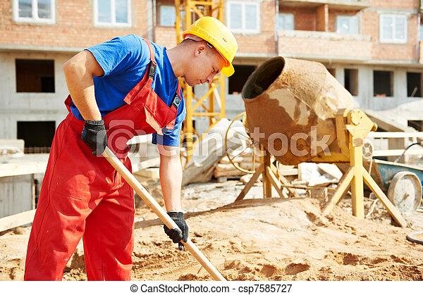 建設, 建築者, シャベル, 労働者, サイト - csp7585727