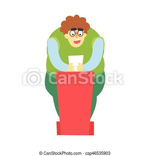 彼の, 脂肪, の後ろ, ペーパー, トリビューン, 話すこと, 手, 公衆, 赤, 人 - csp46535903