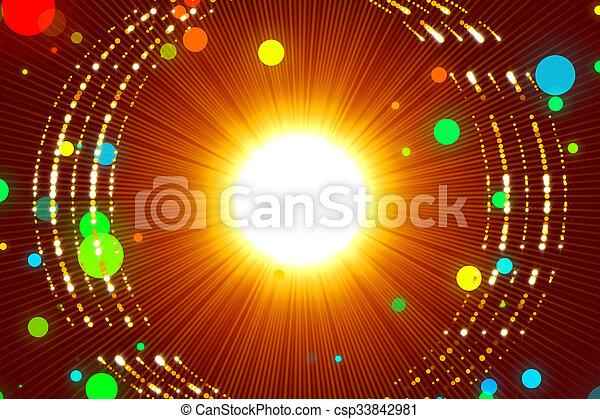 微片, 金, 抽象的, 背景, 赤, 光線 - csp33842981