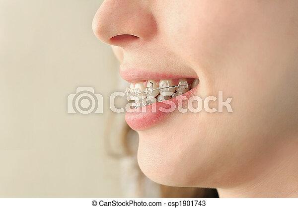 微笑, 女の子, 支柱 - csp1901743