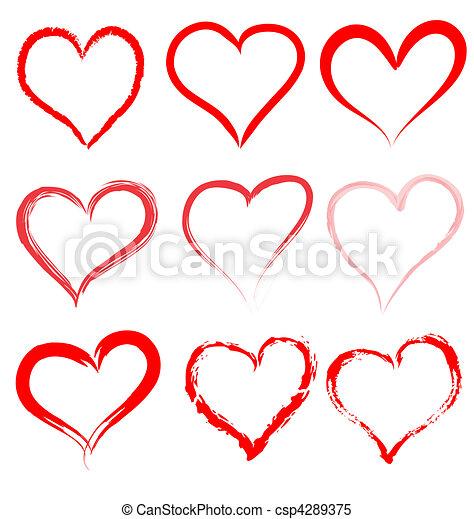 心, バレンタイン, バレンタイン, ベクトル, 心, 日, 赤 - csp4289375