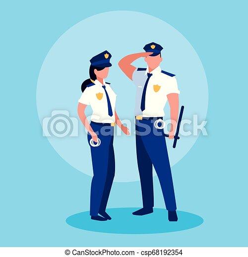 恋人, 特徴, 役人, polices, avatar - csp68192354