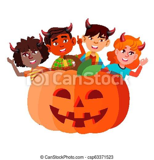 悪魔, グループ, ハロウィーン, 隔離された, イラスト, 大きい, かいま見ること, vector., 角, から, 子供, カボチャ - csp63371523