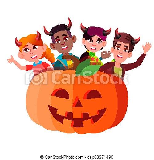 悪魔, グループ, ハロウィーン, 隔離された, イラスト, 大きい, かいま見ること, vector., 角, から, 子供, カボチャ - csp63371490