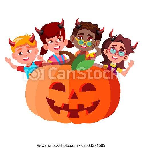 悪魔, グループ, ハロウィーン, 隔離された, イラスト, 大きい, かいま見ること, vector., 角, から, 子供, カボチャ - csp63371589