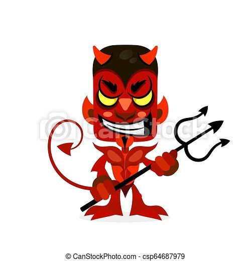 悪魔, 微笑, hands., trident, 彼の, 赤 - csp64687979