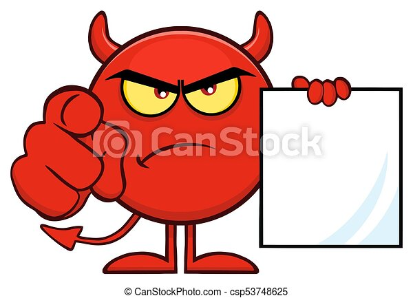 悪魔, 指すこと, 怒る, 特徴, 指, 保有物, ブランク, 歌いなさい, 漫画, 赤, emoji - csp53748625