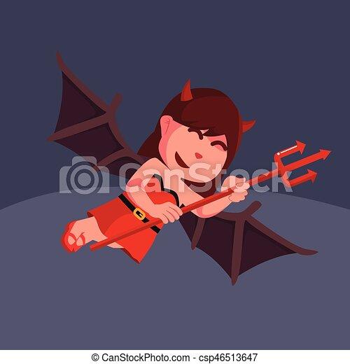 悪魔, 武器, 飛行, trident, 女の子, 赤 - csp46513647